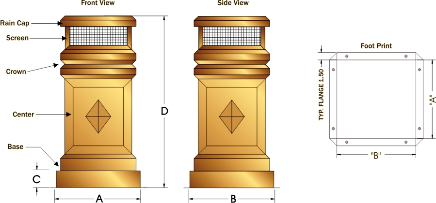 Chimney Pot Schematic Drawing