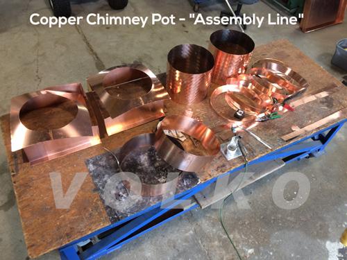 assembly of copper chimney pots
