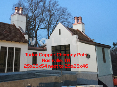 Nashville custom home copper chimney pots