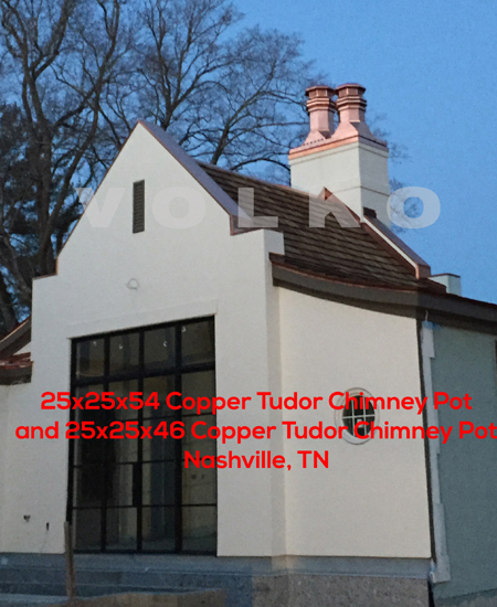 copper chimney pots pool house