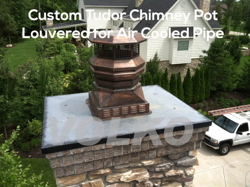 custom copper chimney pot, gas fireplace chimney pot