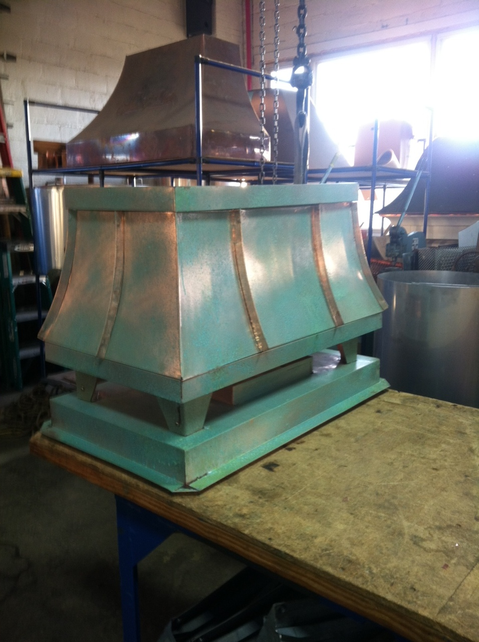 copper patina green standing seam sweep shroud
